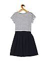 The Children's Place Blue Girls Striped Fit And Flare Dress