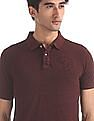Flying Machine Red Heathered Pique Polo Shirt